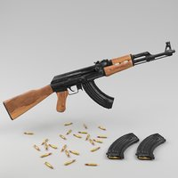 3D rigged ak-47 model