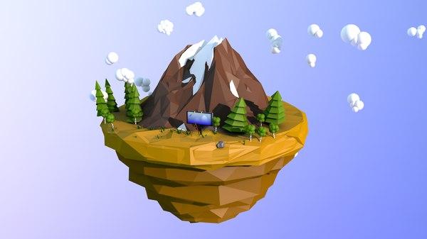 3D island sky