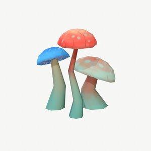 hand painted mushrooms model
