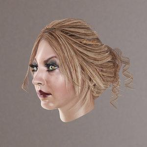 3D female hair model