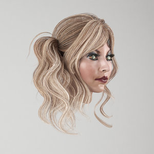 3D model female hair