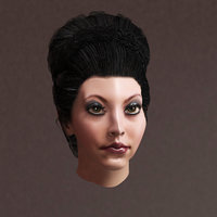 Female hair low-poly