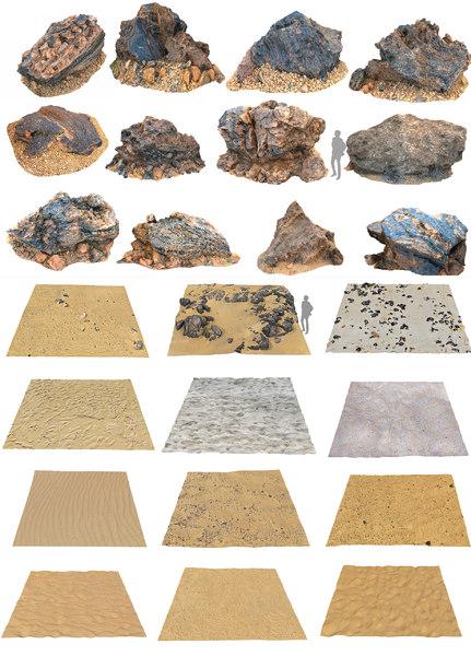 3D stone pack dune beach