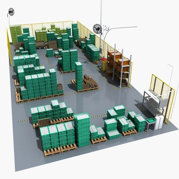 3D warehouse storage boxes