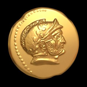 print old rome coin 3D model