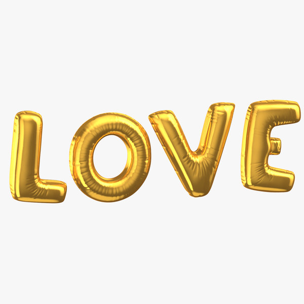 3D golden foil balloons words model