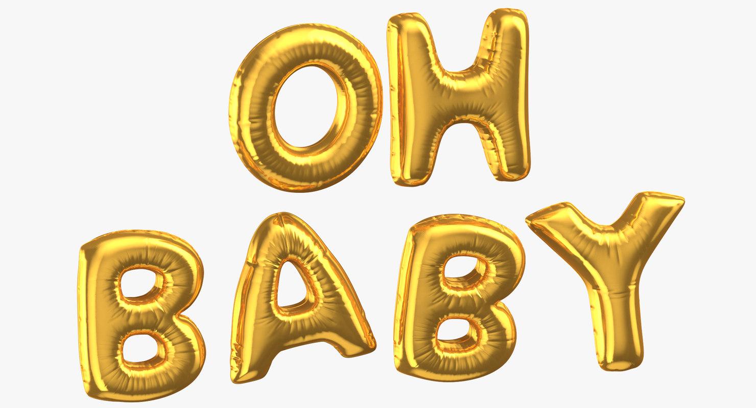 3D model golden foil balloons words