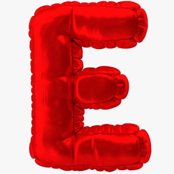balloon red letter e 3D model