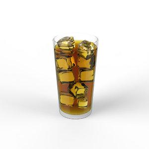 3D glass liquid ice cubes model
