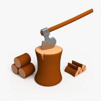 3D cartoon axe log wood