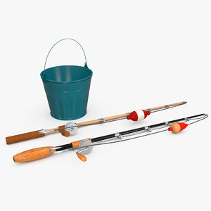 realistic fishing accessories 3D model