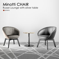 3D minotti russel little lounge chair