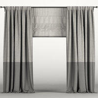 3D gray roman curtain model