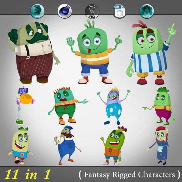 3d 11 1 fantasy rigged cartoon model