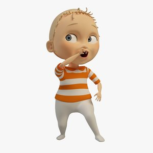cartoon character baby 3d max