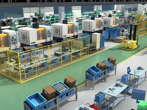 3D factory interior scene model