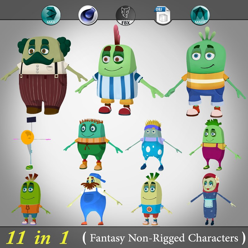 11 in 1 ( Non-Rigged cartoon character )