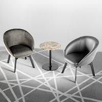 3D minotti russel little lounge chair