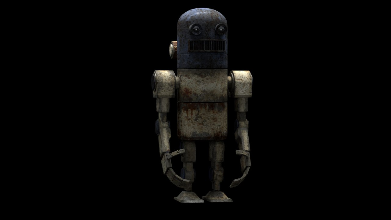 old rusty robot 3D model