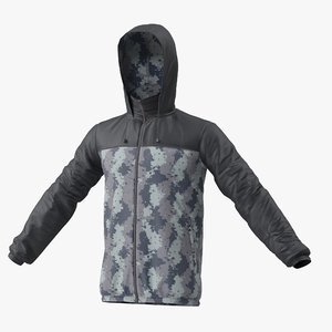 3D windbreaker jacket model