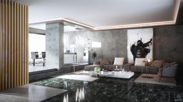 3D living room render fstorm