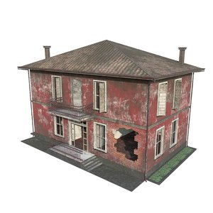 3D model ruined house games buildings