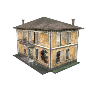 3D ruined house games buildings