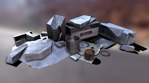 3D model garbage low-poly pbr
