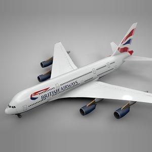 airbus a380 british airways 3D model