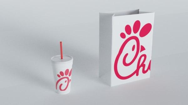 3D generic bag cup fast food model