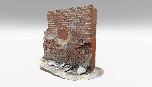 brick corner wall 3D model