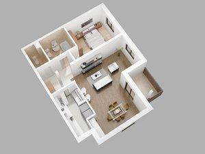flat 3D model
