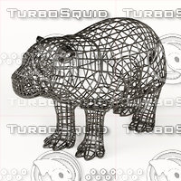 3D model hippo statuette abstraction