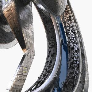 3D sci-fi futuristic space city