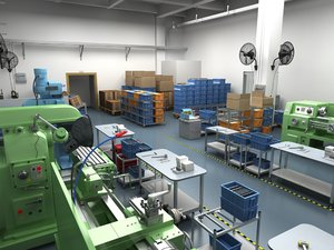 factory interior scene 3D model