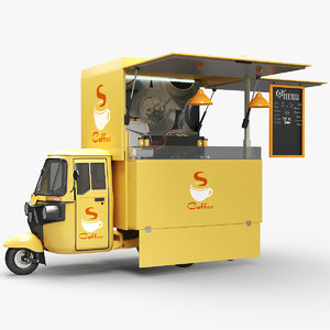 piaggio food coffee truck 3D model