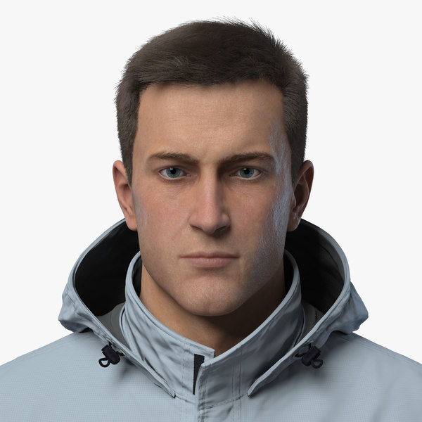 male character realistic hair model