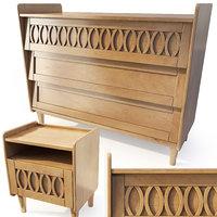 3D wooden dresser nightstand