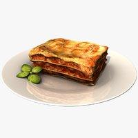 3D realistic lasagne dish model