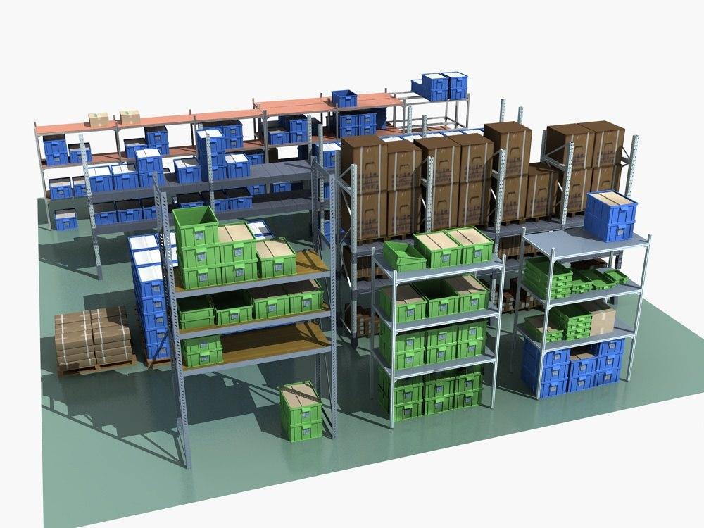 3D rack boxes model