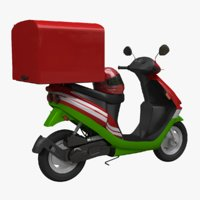 3D food delivery scooter model