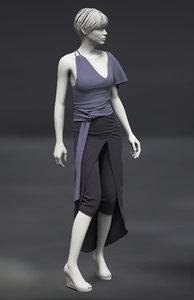 3D model marvelous female asymetric skirt