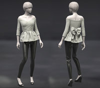 Female Top off-shoulders+pants
