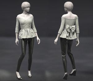 3D marvelous female off-shoulders pants