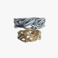 wedding rings laurel tree 3D