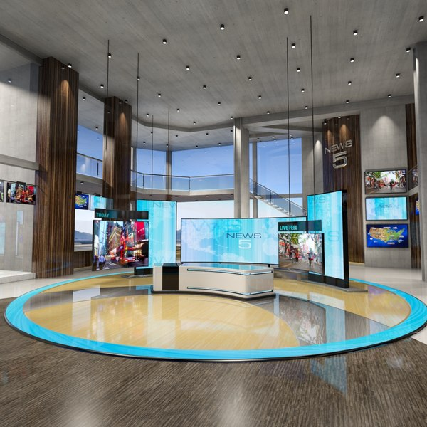 virtual set news studio 3D model