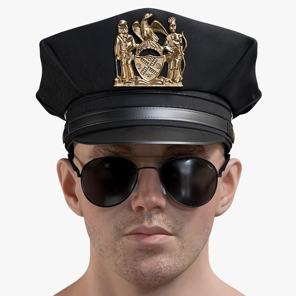 3D male police head