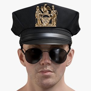 3D male police head