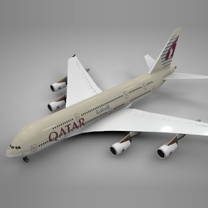 3D model airbus a380 qatar airlines