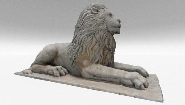 3D stone lion sculpture model
